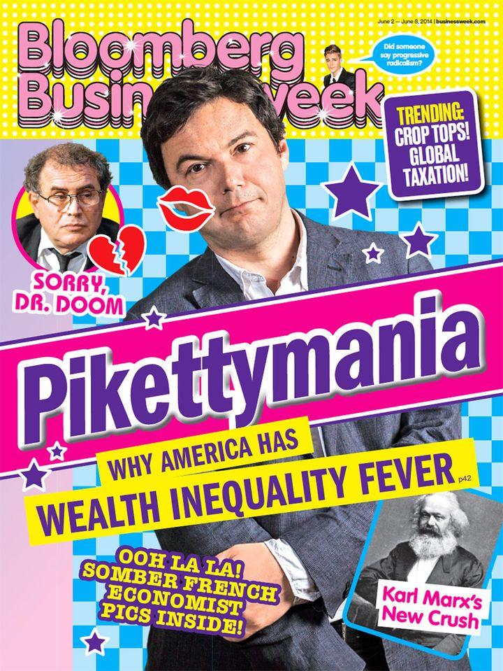 L'hebdomadaire économique américain Bloomberg Businessweek a choisi une couverte étonnante pour évoquer l'économiste français Thomas Piketty, jeudi 29 mai 2014. (BLOOMBERG BUSINESSWEEK)
