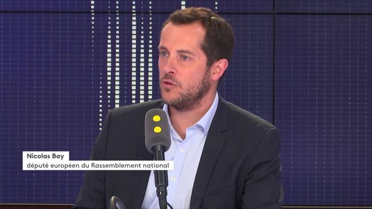 Le député européen Rassemblement national Nicolas Bay, invité de franceinfo lundi 13 août. (FRANCEINFO)