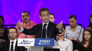 Nicolas Sarkozy lors d'un meeting de campagne àPoissy (Yvelines), le 6 septembre 2016. (PATRICK KOVARIK / AFP)