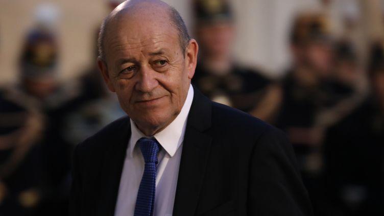 Le ministre des Affaires étrangères, Jean-Yves Le Drian, à l'Elysée, le 30 janvier 2018. (LUDOVIC MARIN / AFP)