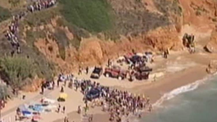 La plage d'Algarve, sur laquelle s'est effondrée une falaise au Portugal (© France 2)