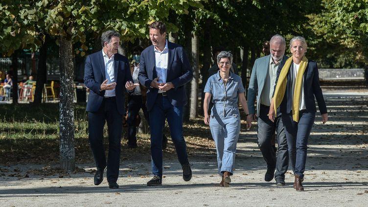 Les candidats àla primaire écologiste, le 20 août 2022, à Poitiers (Vienne). (HARSIN ISABELLE / NOSSANT / SIPA)
