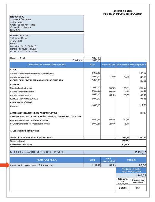 Exemple d'une fiche de paie de janvier 2019, fournie par les ministères de l'Economie et des Finances, et de l'Action et des Comptes publics (Minefi). (MINEFI)
