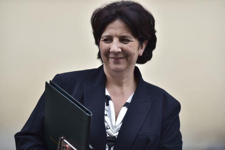Frédérique Vidal arrive à l'Elysée pour son premier Conseil des ministres, le 18 mai 2017, à Paris. (CHRISTOPHE ARCHAMBAULT / AFP)