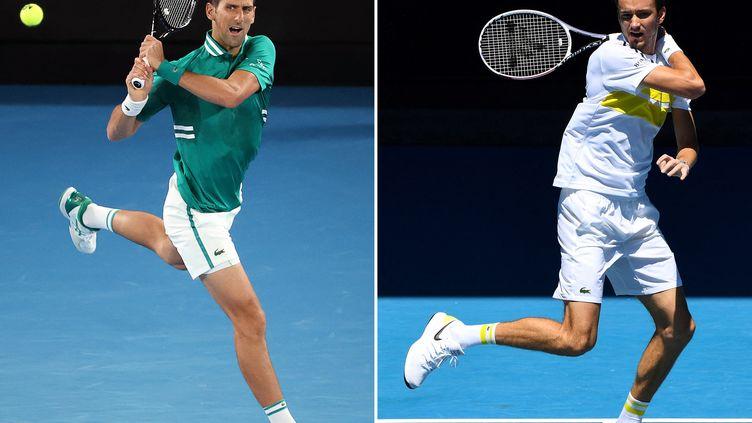Novak Djokovic et Daniil Medvedev vont s'affronter pour la huitième fois. (DAVID GRAY,WILLIAM WEST / AFP)