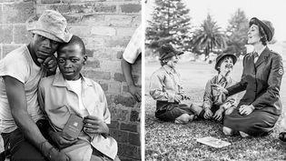 """David Goldblatt, à gauche """"Jeunes hommes montrant le dompas, pièce d'identité que tout Africain âgé de plus de 16 ans devait porter sur lui. White City, Jabavu, Soweto, Johannesburg, novembre 1972"""" - A droite, """"Réunion des voortrekkers dans le quartier de Whitfield, Boksburg, juin 1980"""", Courtesy David Goldblatt et Goodman Gallery Johannesburg et Cape Town  (David Goldblatt et © David Goldblatt)"""