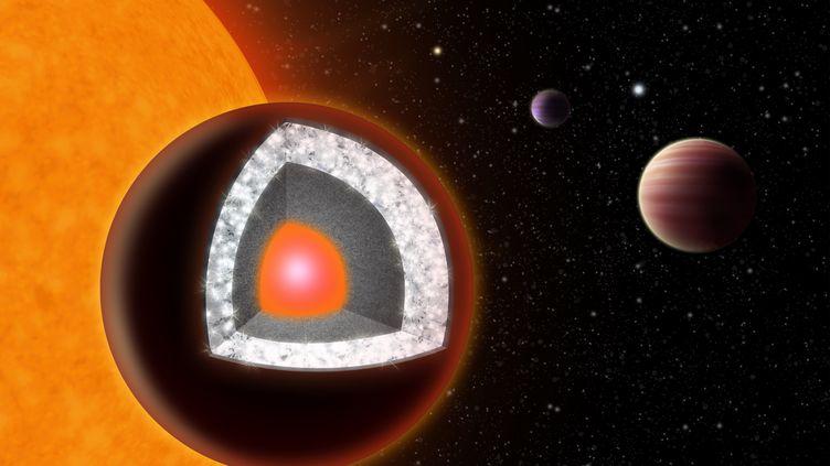 Ce dessin d'artiste permet de voir l'intérieur de la planète 55 Cancri-e, faite en grande partie de diamant. Cettedécouverte a été annoncée le 11 octobre 2012. (HAVEN GIGUERE / YALE UNIVERSITY / AFP)