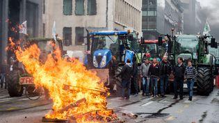Des agriculteurs lors de la manifestation à Bruxelles (Belgique), le 7 septembre 2015. (GEERT VANDEN WIJNGAERT / AP / SIPA )