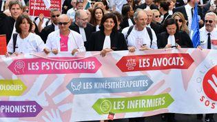 La presidente du Conseil national des barreaux, Christiane Feral-Schuhl,à la manifestation contre la reforme des retraites, le 16 septembre 2019. (Julien Mattia / Le Pictorium / MAXPPP)