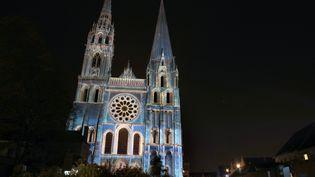 Spectacle lumineux sur la cathédrale de Chartres (Eure-et-Loir). (CHARLY TRIBALLEAU / AFP)