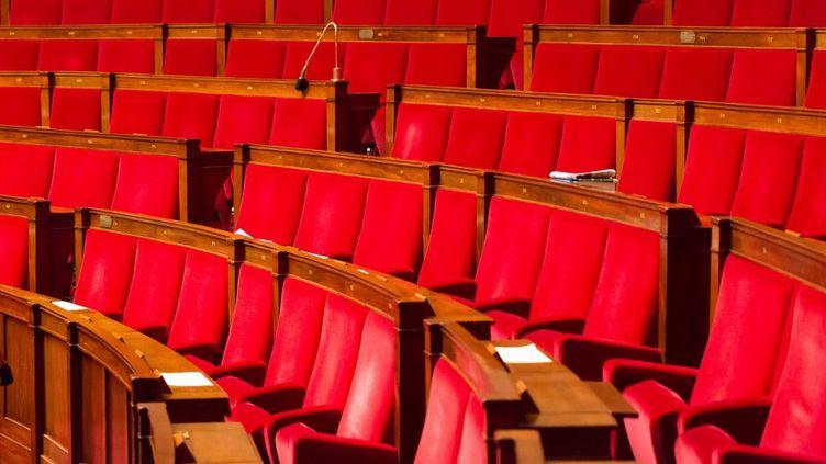 Les bancs de l'Assemblée nationale vides, le 31 mars 2015 à Paris. (GARO / PHANIE)