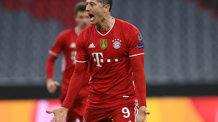 L'attaquant du Bayern Munich, Robert Lewandowski, a encore marqué en Ligue des champions, en huitième de finale retour contre la Lazio Rome, mercredi 17 mars 2021. (CHRISTOF STACHE / AFP)