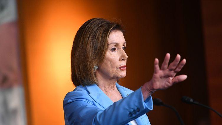 La présidente démocrate de la Chambre des représentants, Nancy Pelosi, le 2 octobre 2019 à Washington (Etats-Unis). (MANDEL NGAN / AFP)