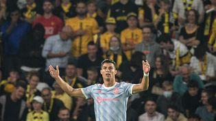 Cristiano Ronaldo a marqué son 135e but en Ligue des champions contre les Young Boys de Berne le 14 septembre 2021 et visera à augmenter son total face à Bergame mercredi soir. (SEBASTIEN BOZON / AFP)