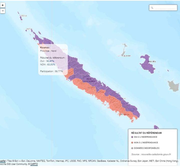 Capture écran de la carte surle référendum en Nouvelle-Calédonie. (FRANCEINFO)