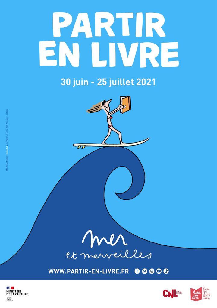 """Affiche de la 7e édition de """"Partir en Livre"""", du 30 juin au 25 juillet 2021. (CNL / PARTIR EN LIVRE / BEAUX YEUX)"""
