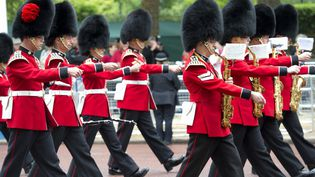 Des soldats de la garde royale sortant de Buckingham palace, pour le premier jour du jubilé de la reine, le 2 juin 2012, à Londres (Royaume-Uni). (MIGUEL MEDINA / AFP)