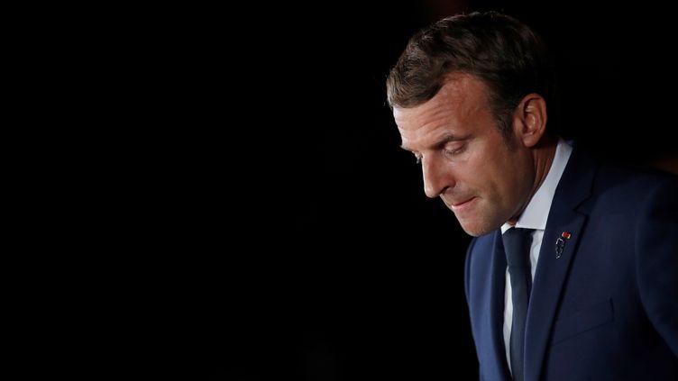 Emmanuel Macron à Beyrouth, au Liban, le 1er septembre 2020.  (GONZALO FUENTES / POOL / AFP)