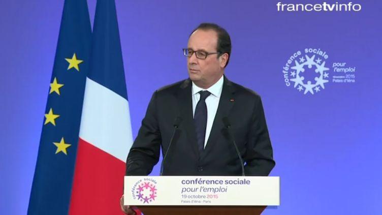 François Hollande, lors de la conférence sociale à Paris, le 19 octobre 2015. (FRANCETV INFO)