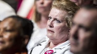 Catherine Trautmann assiste à un meeting lors de la campagne pour les élections européennes,à Villeurbanne le 23 mai 2014. (MAXIME JEGAT / MAXPPP)