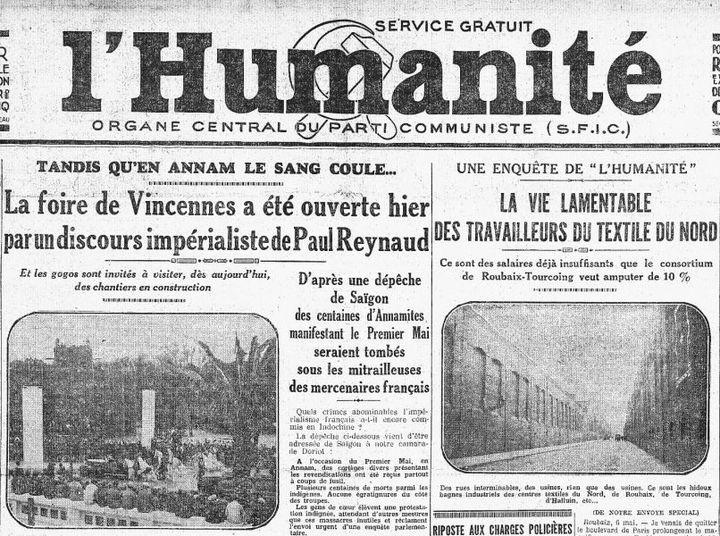 """La Une de """"l'Humanité du 7 mai 1931. Le quotidien communiste qualifie l'exposition coloniale de """"Foire impérialiste"""". (L'Humanité / Gallica /BNF)"""