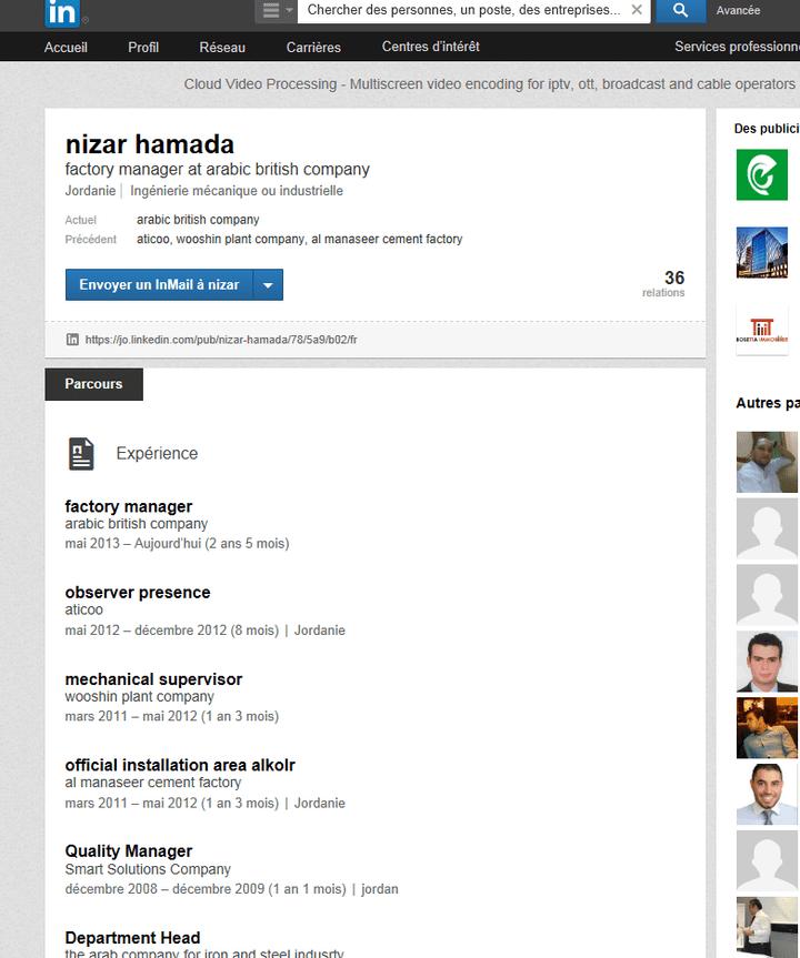 Capture écran du profil LinkedIn de Nizar Hamada. (LINKEDIN)