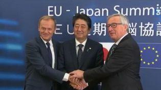 Bruxelles et Tokyo ont conclu les grandes lignes de l'ambitieux accord de libre-échange négocié depuis quatre ans. (FRANCE 3)