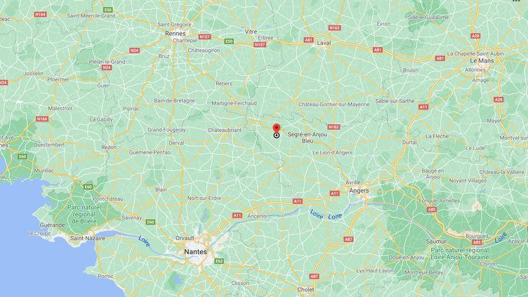 Une fillette de 6 ans a été tuée par un berger allemand à Ombrée d'Anjou, dans le Maine-et-Loire, le 21 mars 2021. (GOOGLE MAPS)