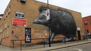 The Hedgehog (le hérisson) signé de l'artiste ROA. Chance street, quartier de Shoreditch, Londres. Avril 2012.  (Streetartlondon.co.uk)