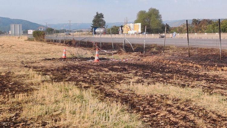 Sur les lieuxde l'accident de voiture au bord de l'autoroute A7, au niveau d'Albon, dans la Drôme, le21 juillet 2020. (MAXXPPP)