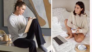 Le homewear version 2020 avec un ensemble composé d'un legging Calzedonia en coton porté avec un pull Falconeri en cachemire (à gauche) et pull en cachemire Vanessa Bruno (à droite) (DR)
