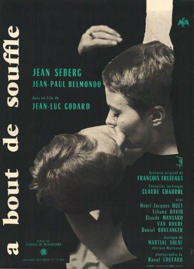 A Bout de Souffle de Jean-Luc Godard. Affiche française 1960.  (Néret-Minet  Tessier & Sarrou)