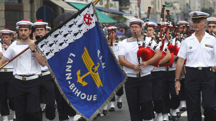 Le Bagad de Lann-Bihoué fêtera ses 60 ans sur scène pendant le festival interceltique de Lorient  (Nicolas Thibaut. AFP)