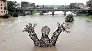 Une sculpture noyée par une crue du fleuve Aude, à Carcassonne, le 19 novembre 2013. (MAXPPP)