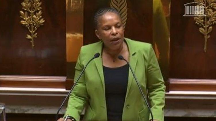 capture d'écran, La ministre de la Justice, Christiane Taubira le mardi 29 janvier 2013 devant un hémicycle surle mariage homosexuel (FRANCETV INFO / LCP)