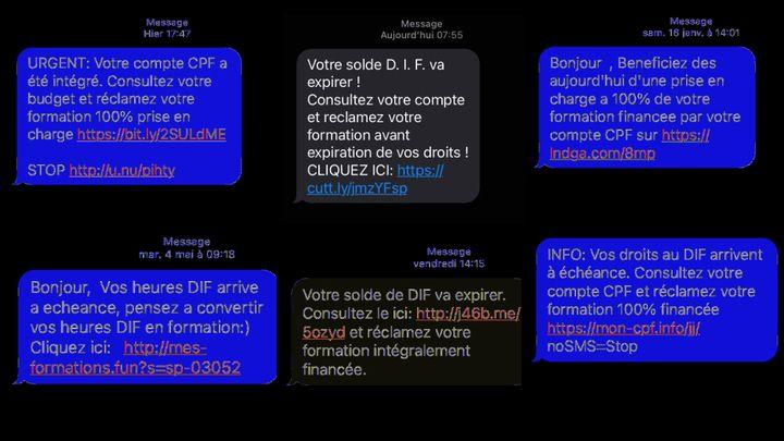 Extraits de SMS de démarchages relatifs au Compte personnel de formation reçus par franceinfo.  (CAPTURE ECRAN / FRANCEINFO)