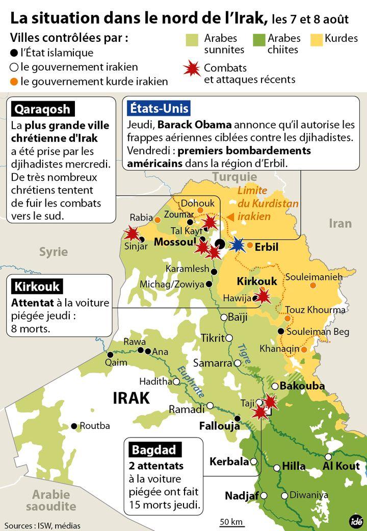(La situation dans le nord de l'Irak les 7 et 8 août © Idé)