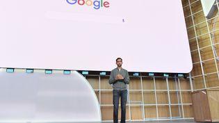 Le patron de Google, Sundar Pichaï, lors d'une keynote à Mountain View (Californie), le 7 mai 2019. (JOSH EDELSON / AFP)