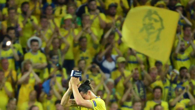 Zlatan Ibrahimovic remercie les supporters suédois après la défaite de la Suède contre la Belgique à l'Euro 2016, le 22 juin 2016 à Nice, son dernier match en sélection. (EMMANUEL DUNAND / AFP)
