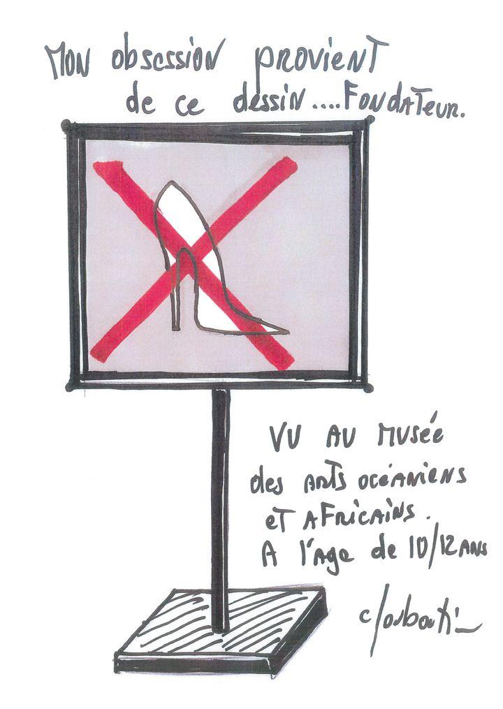 """Exposition """"Christian Louboutin. L'Exhibition[niste]"""" au Palais de la Porte Dorée : panneau de signalétiqueà l'origine de la vocation du créateur de souliers. Février 2020 (CHRISTIAN LOUBOUTIN)"""