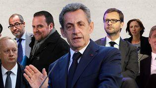 Nicolas Sarkozy et treize autres prévenus comparaissent à partir du 17 mars devant le tribunal correctionnel de Paris dans le cadre de l'affaire Bygmalion. ((FLORIAN DAVID / MIGUEL MEDINA / LIONEL BONAVENTURE / FLORIAN DAVID / THOMAS SAMSON / VALERY HACHE / PATRICK KOVARIK / MIGUEL MEDINA / THOMAS SAMSON / GUILLAUME SOUVANT / AFP))