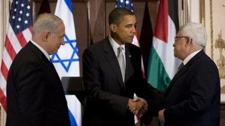 Benjamin Nentayahu, Barack Obama et Mahmoud Abbas, à New York, le 22 septembre 2009 (© AFP PHOTO/ JIM WATSON)