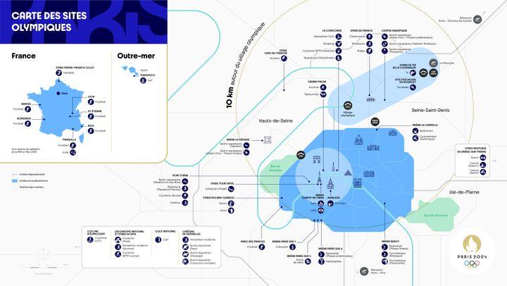 Nouvelle carte des sites pour accueillir l'ensemble des épreuves de Paris 2024.