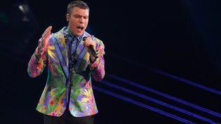 Le rappeur italien Fedez au festival de Sanremo, le 6 mars 2021 (MARCO PIRACCINI / MONDADORI PORTFO / SIPA)