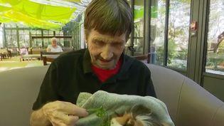 Quand on est malade, âgé ou handicapé, on peut aussi compter sur nos amis les bêtes. Les établissements de santé ont de plus en plus recours aux animaux pour apaiser ou distraire les patients. La zoothérapie prend de l'ampleur. Reportage à Lyon (Rhône). (CAPTURE ECRAN FRANCE 2)