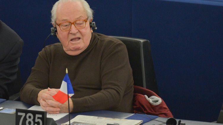 Jean-Marie Le Pen lors d'une session du Parlement européen à Strabsourg, le 15 janvier 2019. (ALEXEY VITVITSKY / SPUTNIK / AFP)