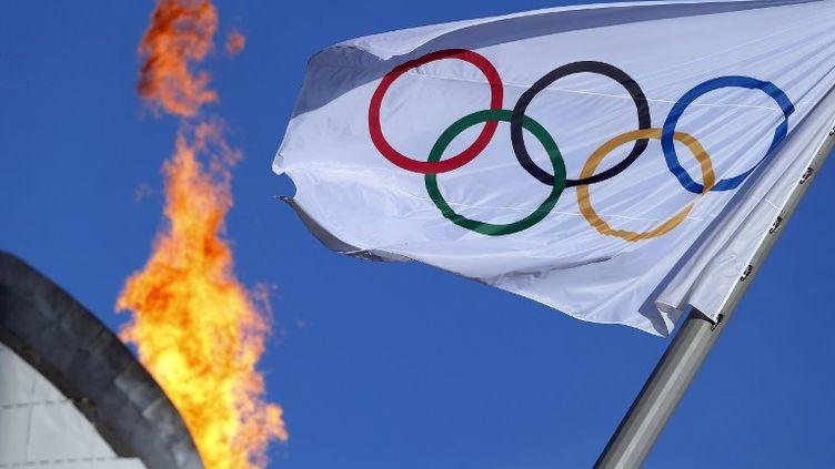 Le drapeau et la flamme olympique, lors des 22e Jeux olympiques d'hiver à Sotchi (Russie), le 12 février 2014. (ADRIAN DENNIS / AFP)
