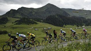 Le peloton du Tour de France lors de l'avant-dernière étape du Tour de France, samedi 23 juillet 2016, entre Megève et Morzine. (JEFF PACHOUD / AFP)