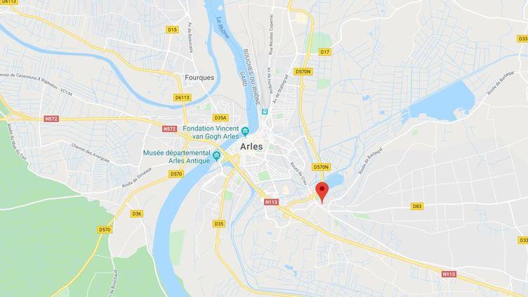 Le quartier de Pont-de-Crau, à Arles, a été frappé par une tornade dans la nuit, mardi 15 octobre. (GOOGLE MAPS)