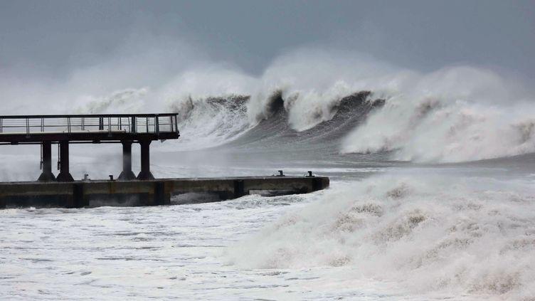 Des vagues violentes frappent les côtes de l'île de La Réunion à cause du cyclone Bejisa, le 2 janvier 2014. (RICHARD BOUHET / AFP)